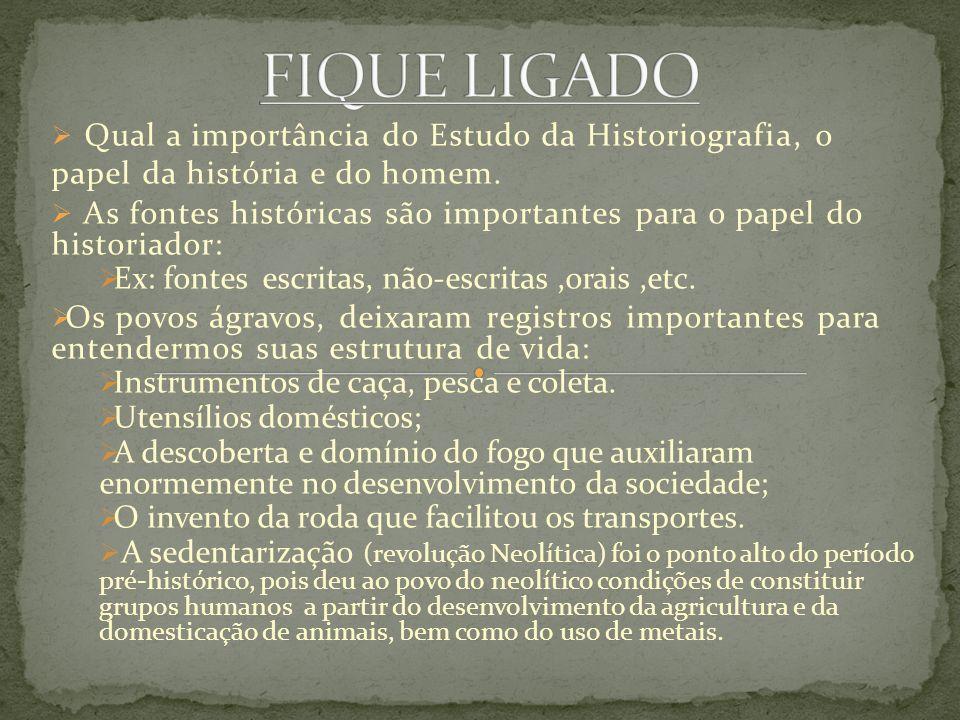 Qual a importância do Estudo da Historiografia, o papel da história e do homem. As fontes históricas são importantes para o papel do historiador: Ex: