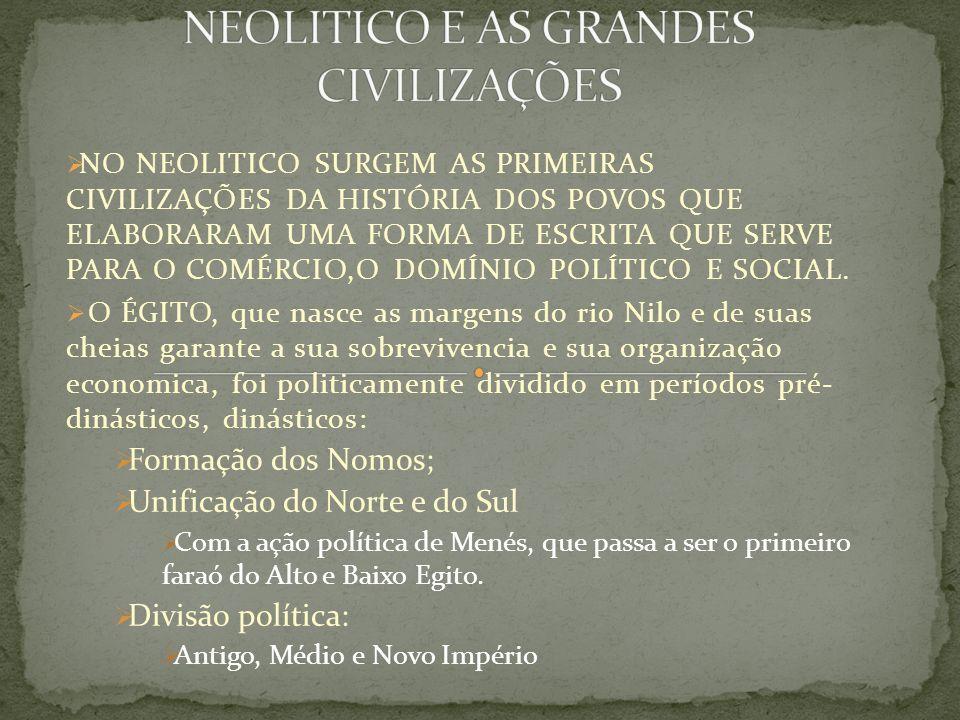 ANTIGO: unificação política 3200 a.c, Grandes obras arquitetônicas –Quéops, Quefrens e Miquerinos.