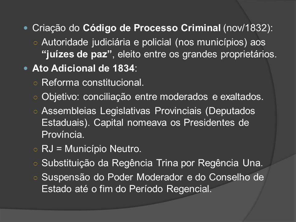 Criação do Código de Processo Criminal (nov/1832): Autoridade judiciária e policial (nos municípios) aos juízes de paz, eleito entre os grandes propri
