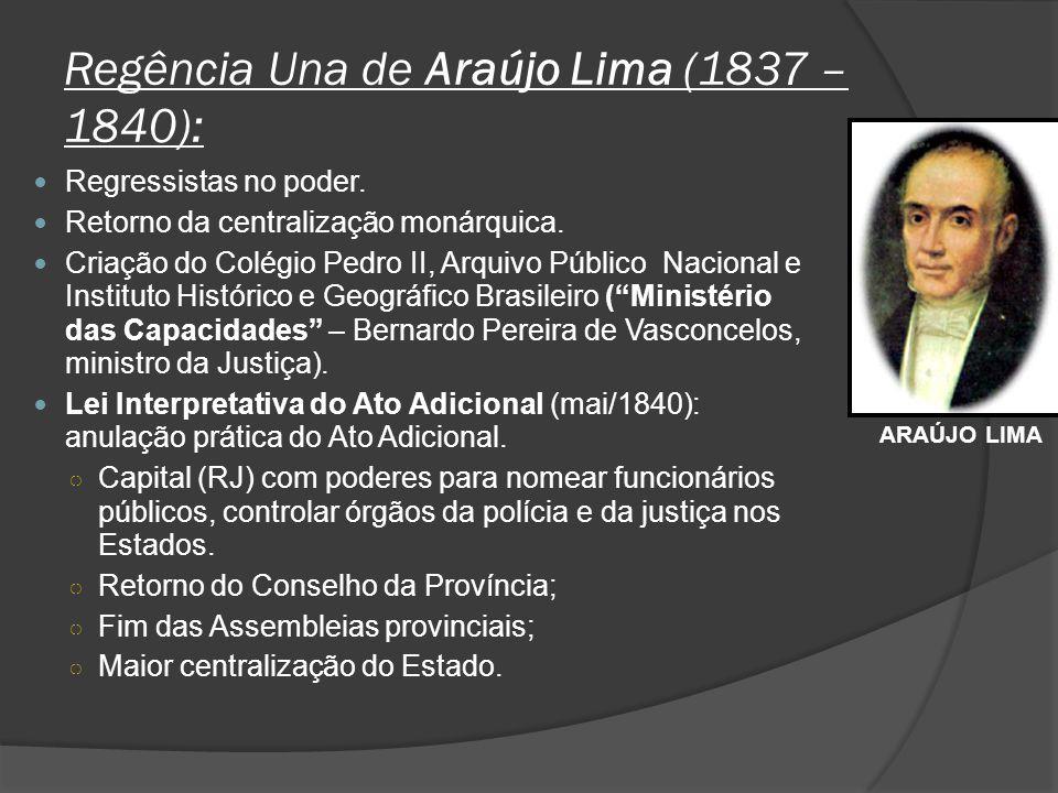 Regência Una de Araújo Lima (1837 – 1840): Regressistas no poder. Retorno da centralização monárquica. Criação do Colégio Pedro II, Arquivo Público Na