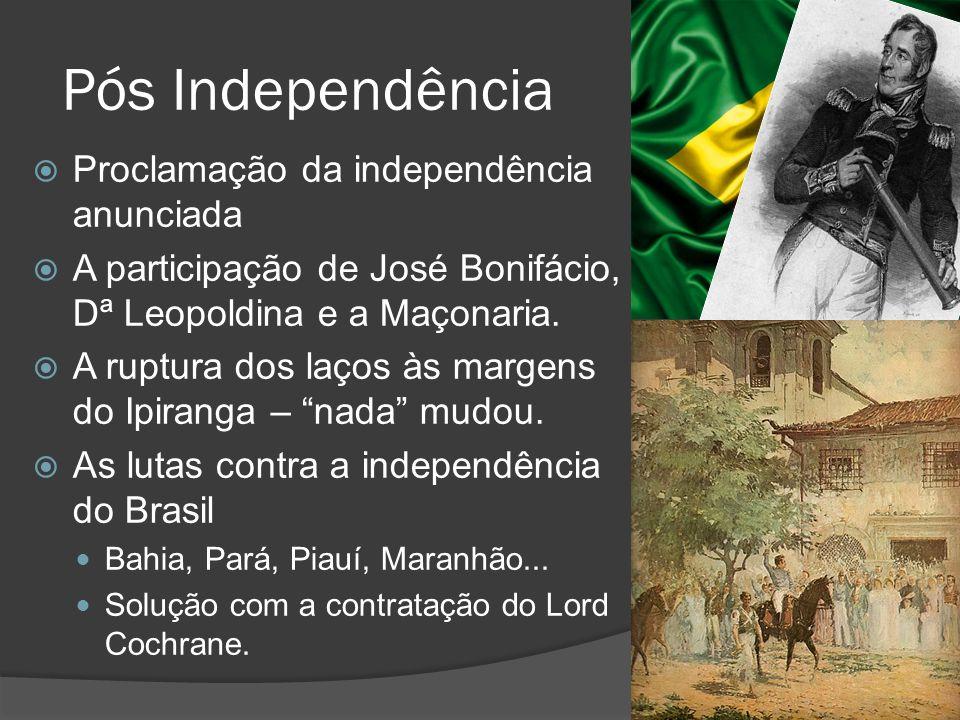 Pós Independência Proclamação da independência anunciada A participação de José Bonifácio, Dª Leopoldina e a Maçonaria. A ruptura dos laços às margens