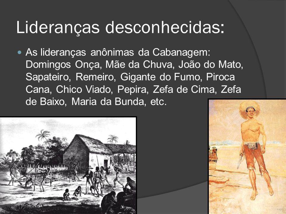 Lideranças desconhecidas: As lideranças anônimas da Cabanagem: Domingos Onça, Mãe da Chuva, João do Mato, Sapateiro, Remeiro, Gigante do Fumo, Piroca