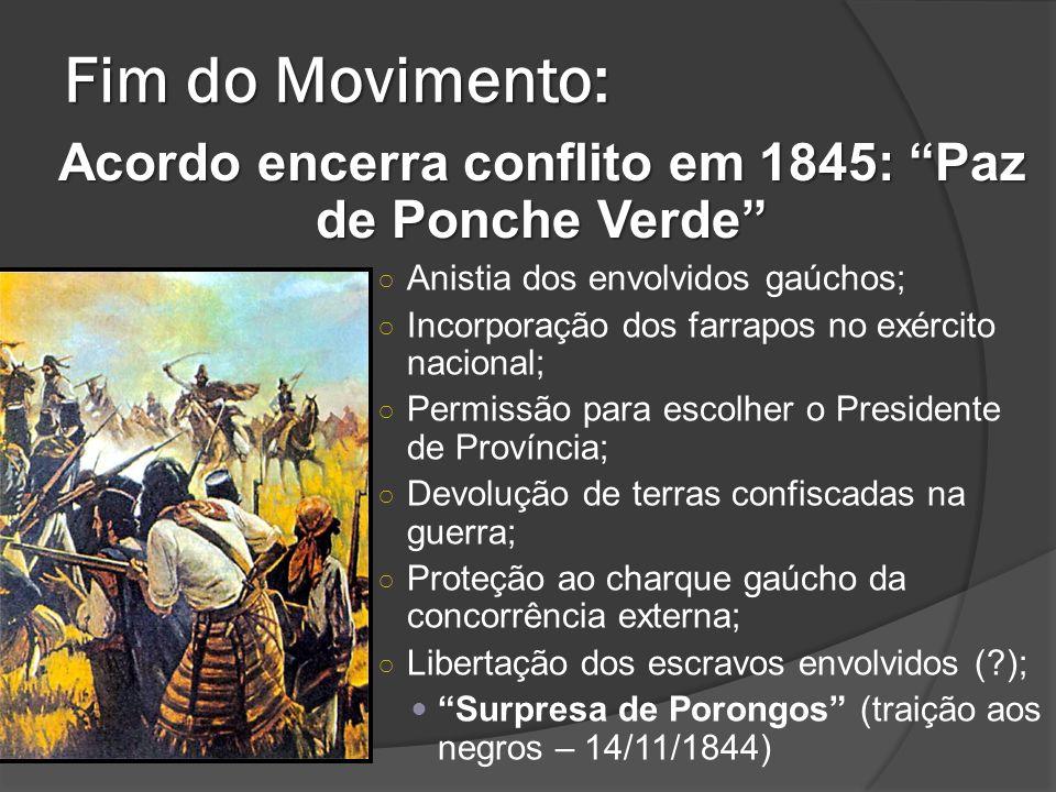 Fim do Movimento: Anistia dos envolvidos gaúchos; Incorporação dos farrapos no exército nacional; Permissão para escolher o Presidente de Província; D