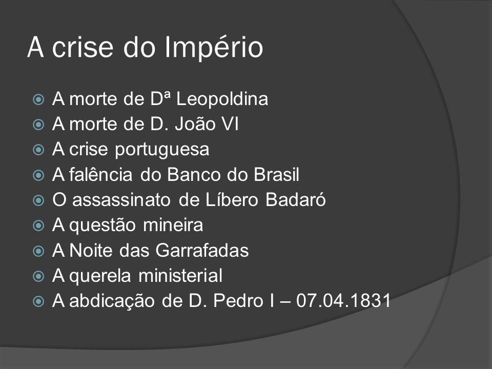 A crise do Império A morte de Dª Leopoldina A morte de D. João VI A crise portuguesa A falência do Banco do Brasil O assassinato de Líbero Badaró A qu