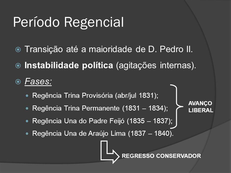 Período Regencial Transição até a maioridade de D. Pedro II. Instabilidade política (agitações internas). Fases: Regência Trina Provisória (abr/jul 18