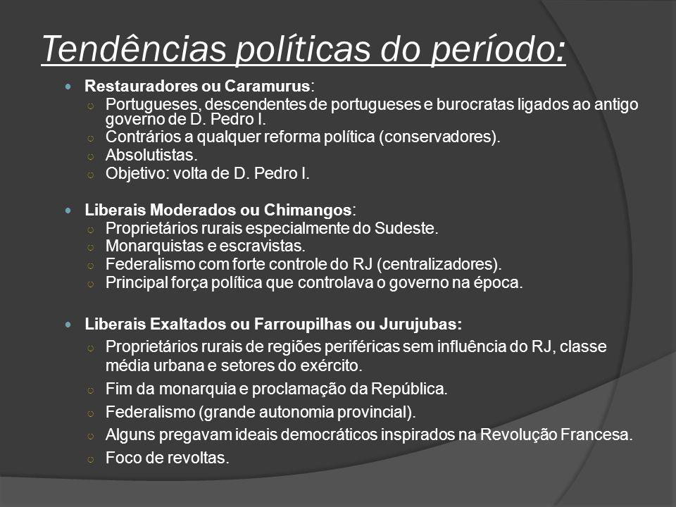 Tendências políticas do período: Restauradores ou Caramurus: Portugueses, descendentes de portugueses e burocratas ligados ao antigo governo de D. Ped