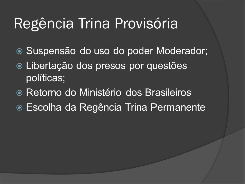 Regência Trina Provisória Suspensão do uso do poder Moderador; Libertação dos presos por questões políticas; Retorno do Ministério dos Brasileiros Esc