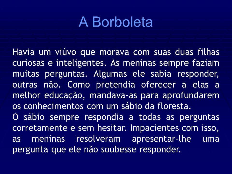 A Borboleta Havia um viúvo que morava com suas duas filhas curiosas e inteligentes. As meninas sempre faziam muitas perguntas. Algumas ele sabia respo