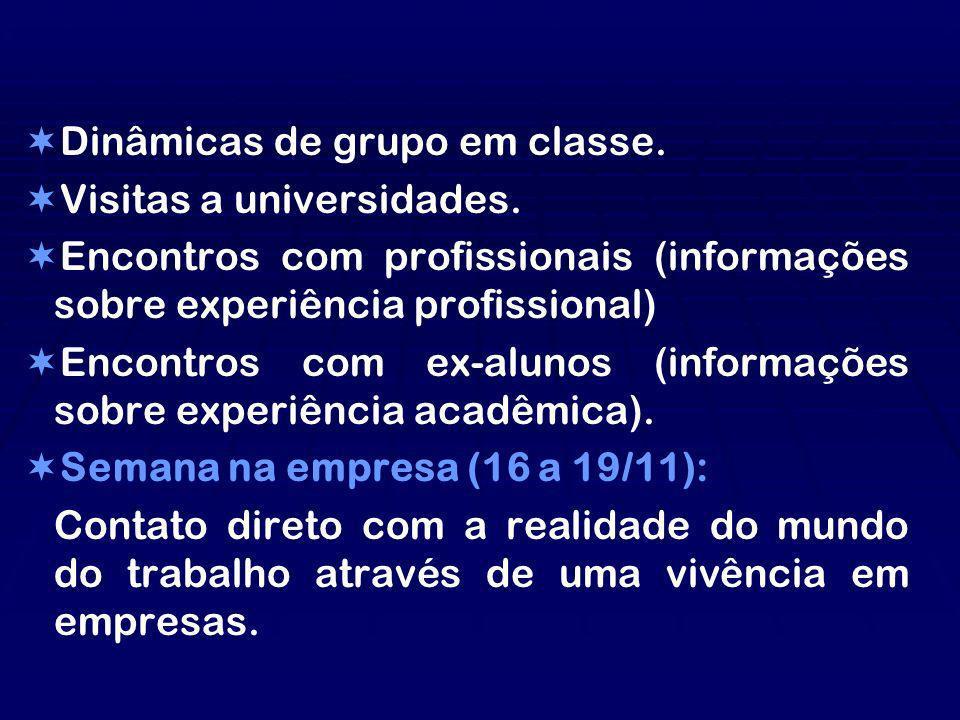Dinâmicas de grupo em classe. Visitas a universidades. Encontros com profissionais (informações sobre experiência profissional) Encontros com ex-aluno