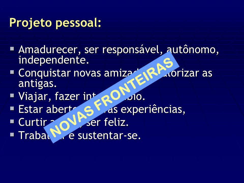 Projeto pessoal: Amadurecer, ser responsável, autônomo, independente. Amadurecer, ser responsável, autônomo, independente. Conquistar novas amizades,