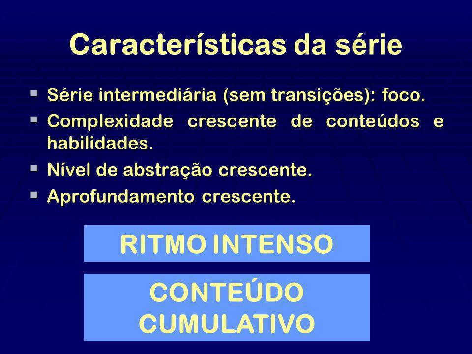 Características da série Série intermediária (sem transições): foco. Série intermediária (sem transições): foco. Complexidade crescente de conteúdos e