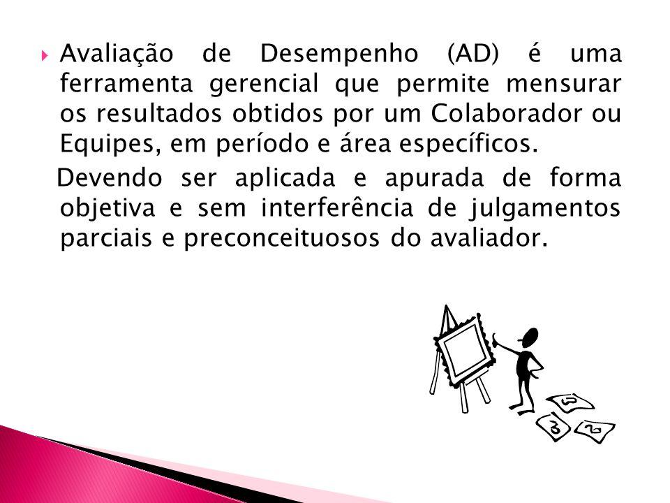 Avaliação de Desempenho (AD) é uma ferramenta gerencial que permite mensurar os resultados obtidos por um Colaborador ou Equipes, em período e área específicos.