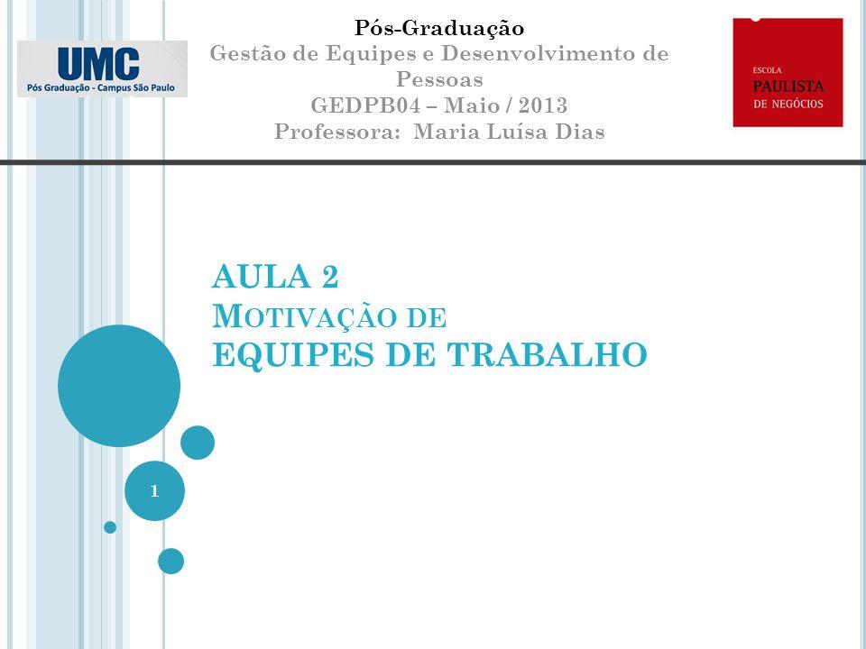 AULA 2 M OTIVAÇÃO DE EQUIPES DE TRABALHO Pós-Graduação Gestão de Equipes e Desenvolvimento de Pessoas GEDPB04 – Maio / 2013 Professora: Maria Luísa Dias 1