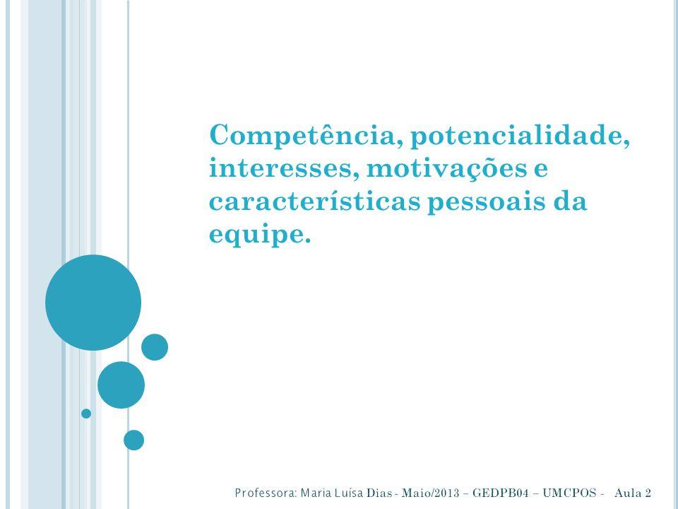 Competência, potencialidade, interesses, motivações e características pessoais da equipe.