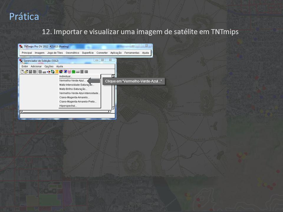 12. Importar e visualizar uma imagem de satélite em TNTmips Prática Clique em Vermelho-Verde-Azul...