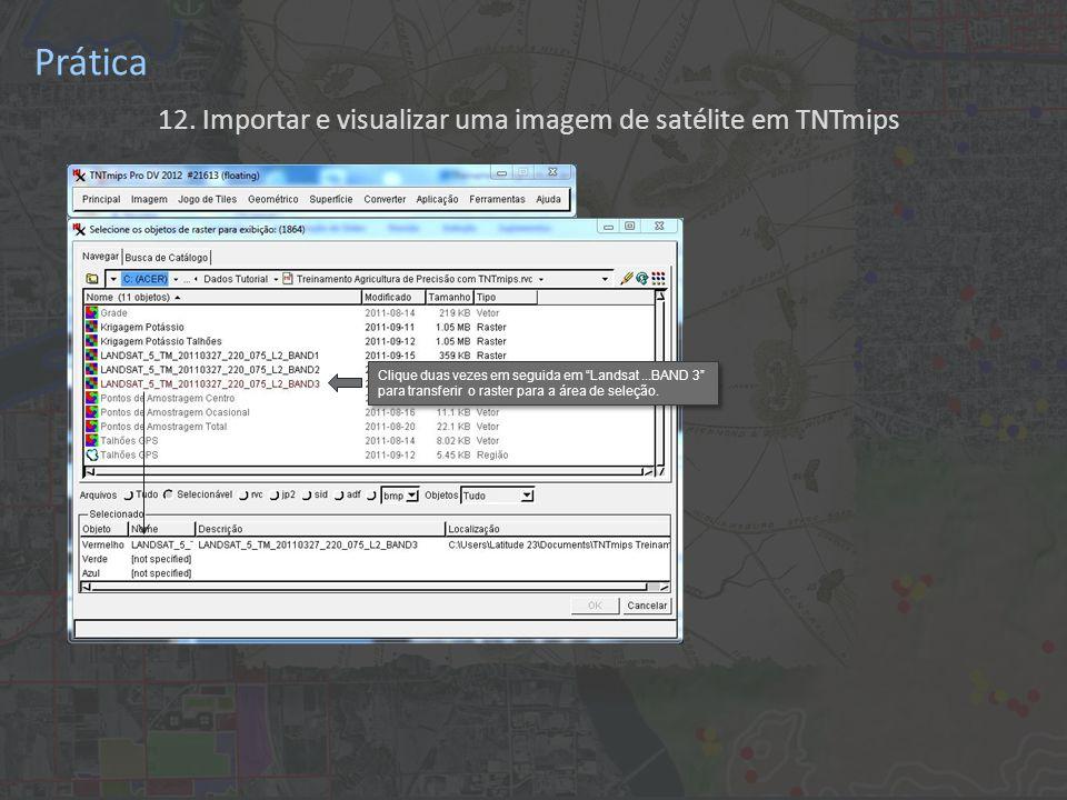 12. Importar e visualizar uma imagem de satélite em TNTmips Prática Clique duas vezes em seguida em Landsat...BAND 3 para transferir o raster para a á