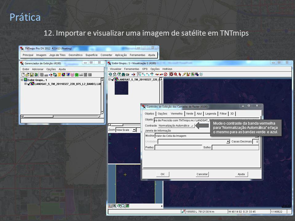 12. Importar e visualizar uma imagem de satélite em TNTmips Prática Mude o contraste da banda vermelha para Normalização Automática e faça o mesmo par