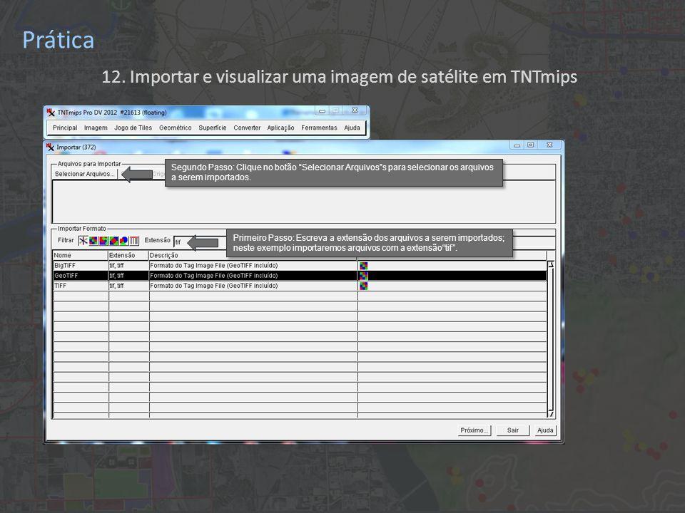 Primeiro Passo: Escreva a extensão dos arquivos a serem importados; neste exemplo importaremos arquivos com a extensãotif.