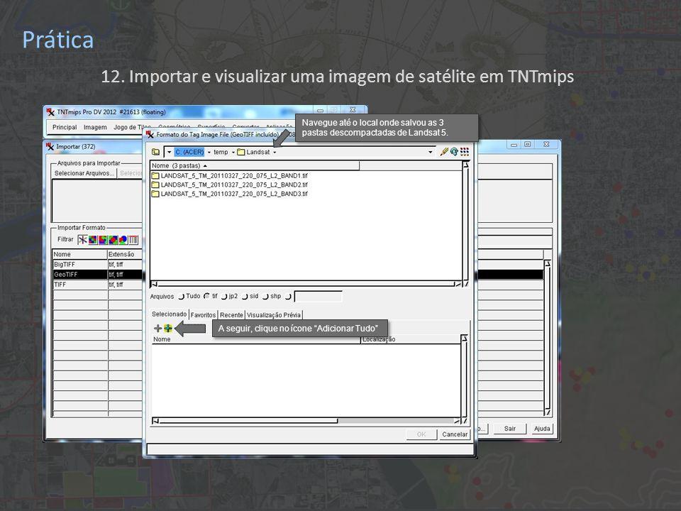 12. Importar e visualizar uma imagem de satélite em TNTmips Prática Navegue até o local onde salvou as 3 pastas descompactadas de Landsat 5. A seguir,