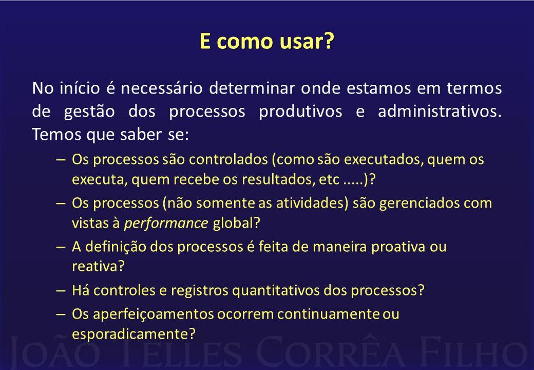 E como usar? No início é necessário determinar onde estamos em termos de gestão dos processos produtivos e administrativos. Temos que saber se: – Os p