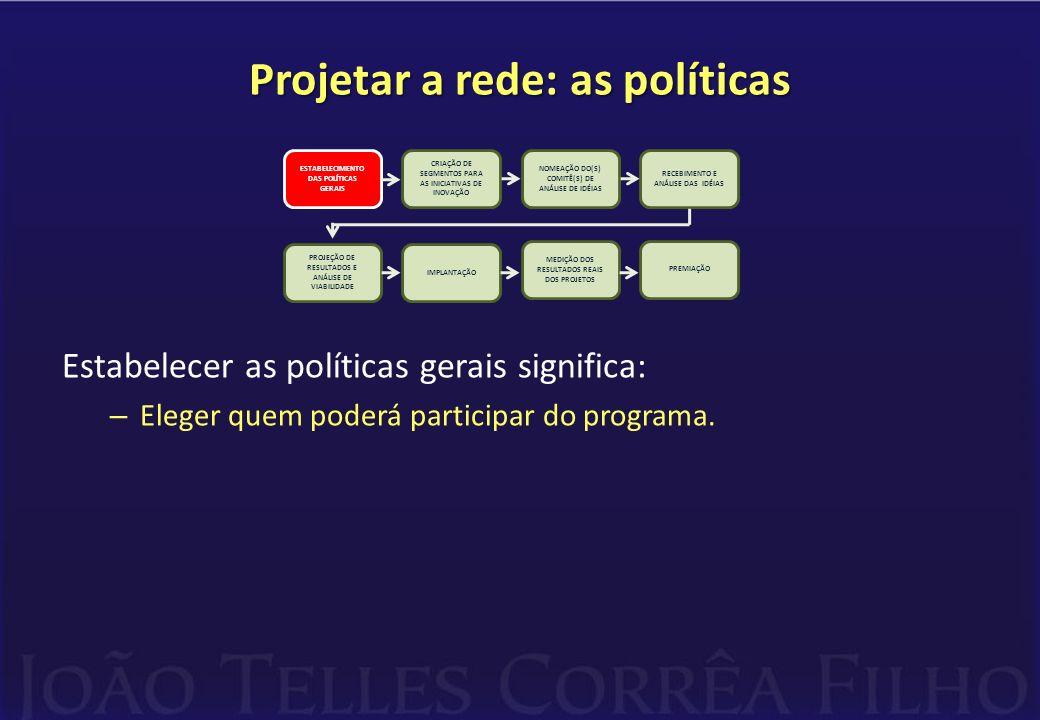 Projetar a rede: as políticas Estabelecer as políticas gerais significa: – Eleger quem poderá participar do programa. CRIAÇÃO DE SEGMENTOS PARA AS INI