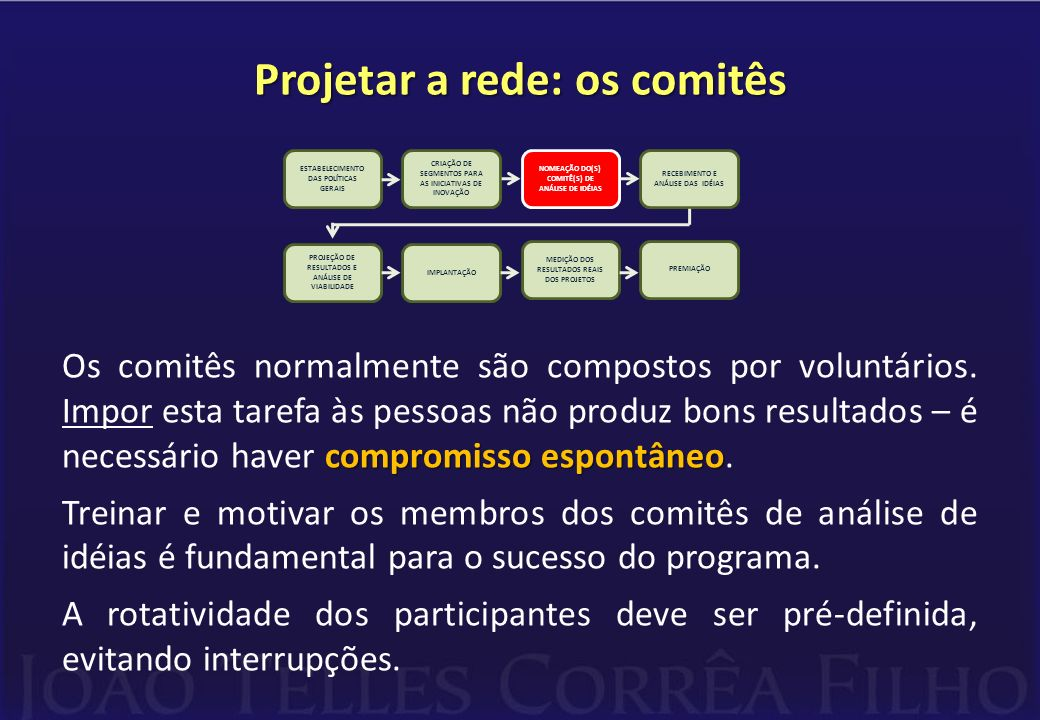 Projetar a rede: os comitês compromisso espontâneo Os comitês normalmente são compostos por voluntários. Impor esta tarefa às pessoas não produz bons