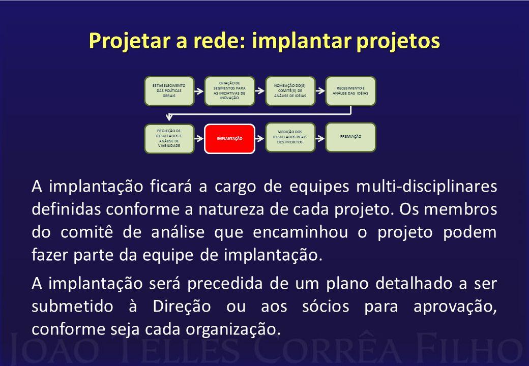 Projetar a rede: implantar projetos A implantação ficará a cargo de equipes multi-disciplinares definidas conforme a natureza de cada projeto. Os memb