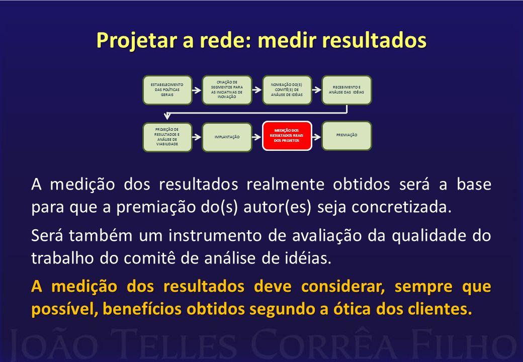 Projetar a rede: medir resultados A medição dos resultados realmente obtidos será a base para que a premiação do(s) autor(es) seja concretizada. Será