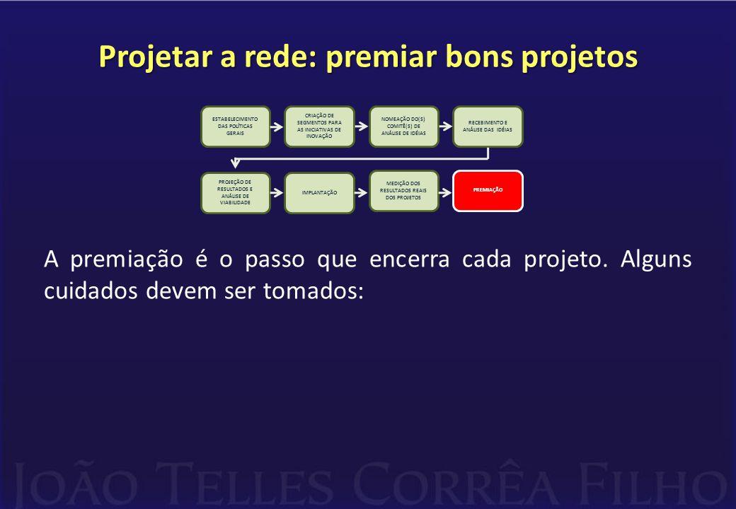 Projetar a rede: premiar bons projetos A premiação é o passo que encerra cada projeto. Alguns cuidados devem ser tomados: CRIAÇÃO DE SEGMENTOS PARA AS
