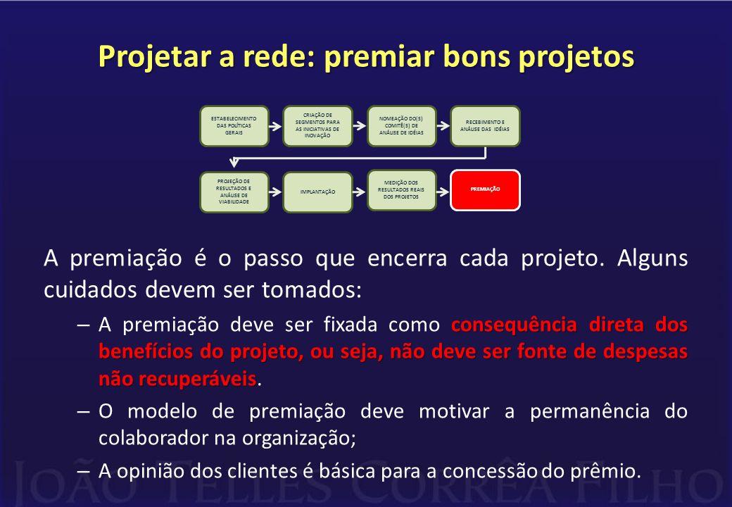 Projetar a rede: premiar bons projetos A premiação é o passo que encerra cada projeto. Alguns cuidados devem ser tomados: consequência direta dos bene