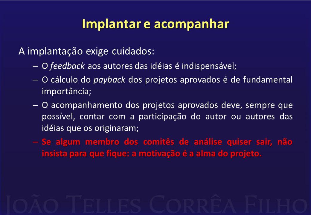 Implantar e acompanhar A implantação exige cuidados: – O feedback aos autores das idéias é indispensável; – O cálculo do payback dos projetos aprovado