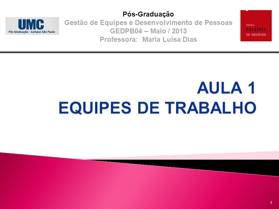 Pós-Graduação Gestão de Equipes e Desenvolvimento de Pessoas GEDPB04 – Maio / 2013 Professora: Maria Luísa Dias 1