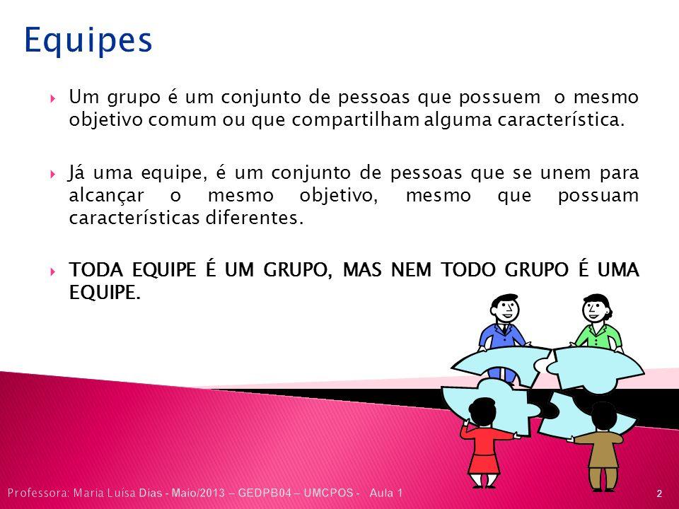 Equipes Um grupo é um conjunto de pessoas que possuem o mesmo objetivo comum ou que compartilham alguma característica. Já uma equipe, é um conjunto d