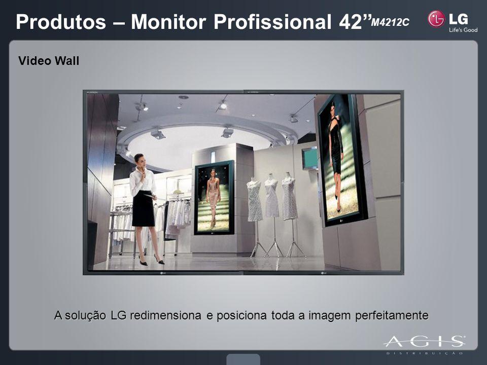 A solução LG redimensiona e posiciona toda a imagem perfeitamente Video Wall Produtos – Monitor Profissional 42 M4212C