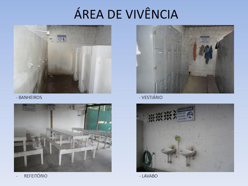 ÁREA DE VIVÊNCIA - BANHEIROS- VESTIÁRIO -REFEITÓRIO- LAVABO