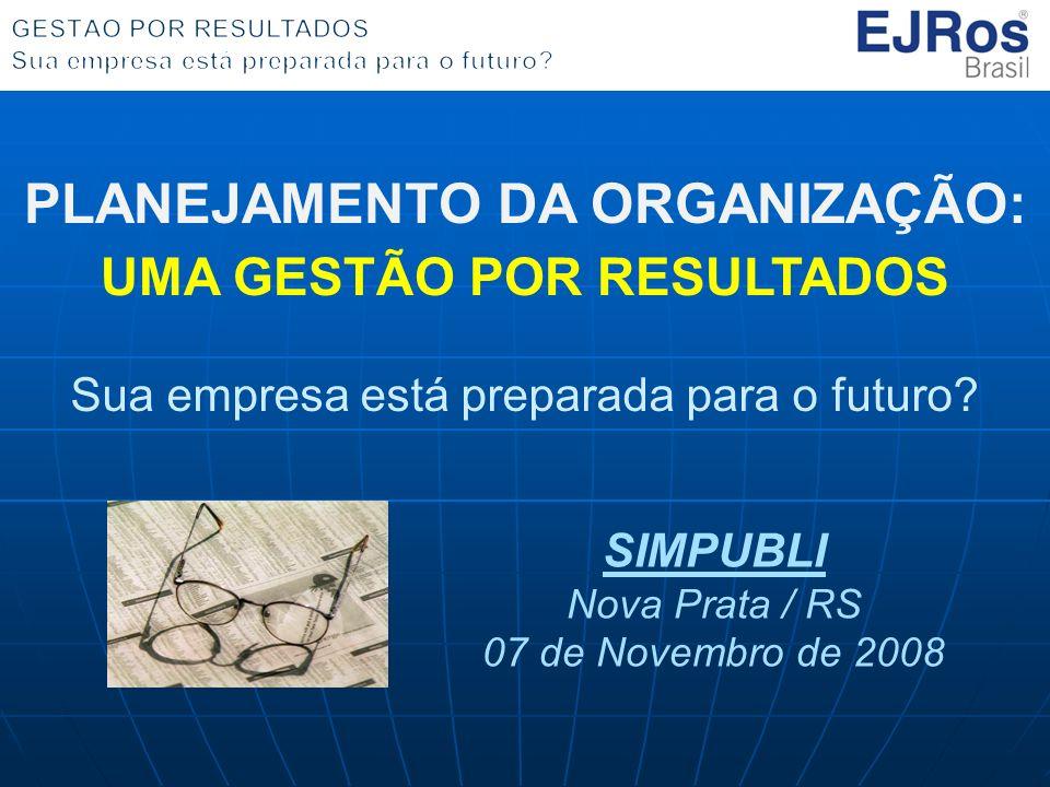 PLANEJAMENTO DA ORGANIZAÇÃO: UMA GESTÃO POR RESULTADOS Sua empresa está preparada para o futuro? SIMPUBLI Nova Prata / RS 07 de Novembro de 2008