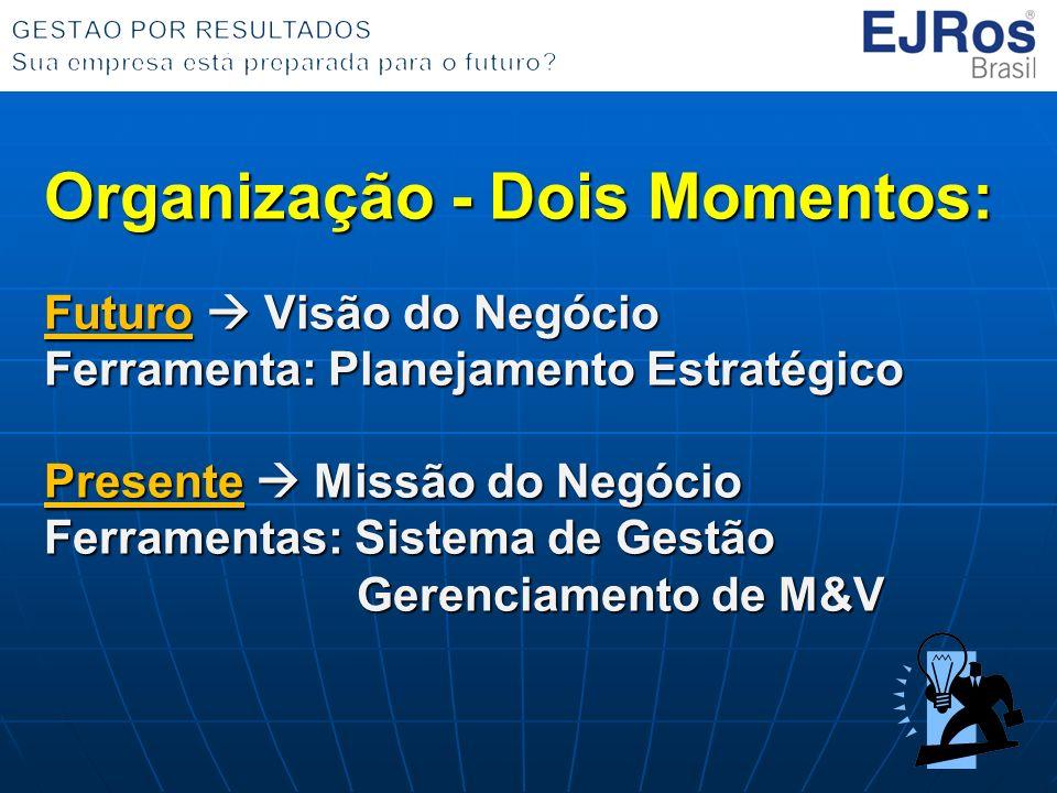 Organização - Dois Momentos: Futuro Visão do Negócio Ferramenta: Planejamento Estratégico Presente Missão do Negócio Ferramentas: Sistema de Gestão Ge