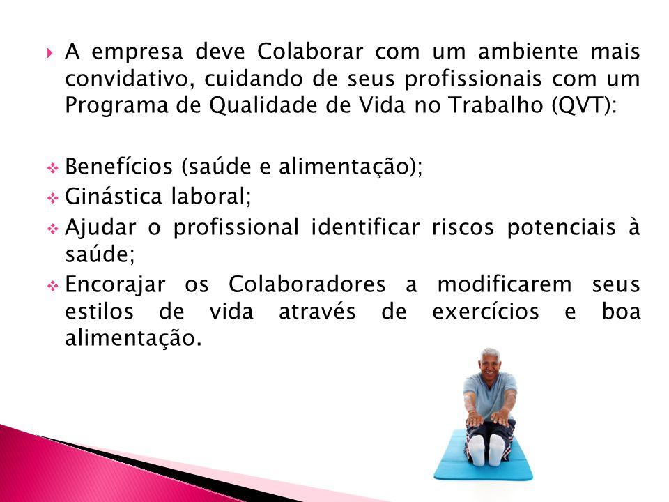 A empresa deve Colaborar com um ambiente mais convidativo, cuidando de seus profissionais com um Programa de Qualidade de Vida no Trabalho (QVT): Bene