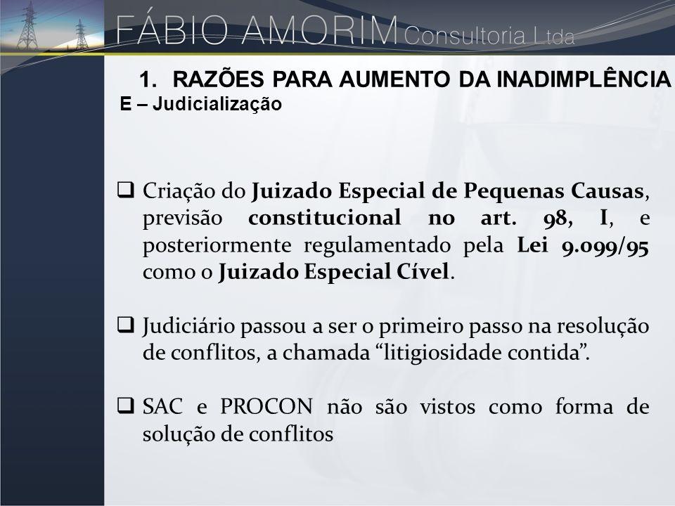 1.RAZÕES PARA AUMENTO DA INADIMPLÊNCIA E – Judicialização Criação do Juizado Especial de Pequenas Causas, previsão constitucional no art. 98, I, e pos