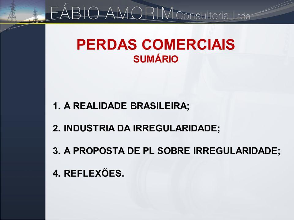 1.A REALIDADE BRASILEIRA; 2.INDUSTRIA DA IRREGULARIDADE; 3.A PROPOSTA DE PL SOBRE IRREGULARIDADE; 4.REFLEXÕES. PERDAS COMERCIAIS SUMÁRIO
