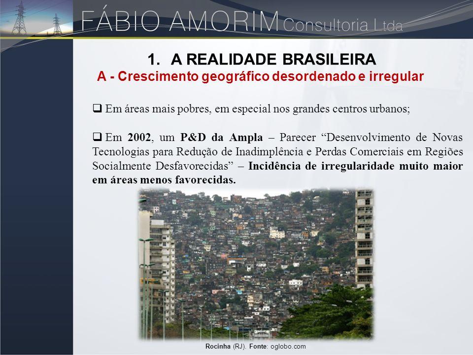 Rocinha (RJ). Fonte: oglobo.com 1.A REALIDADE BRASILEIRA A - Crescimento geográfico desordenado e irregular Em áreas mais pobres, em especial nos gran