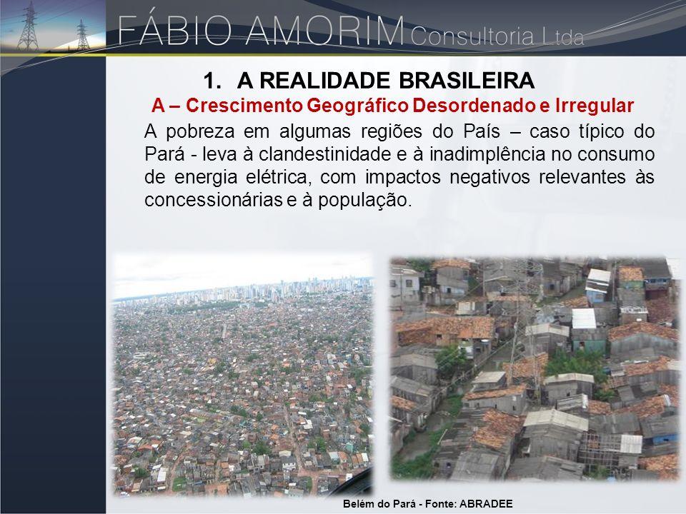 1.A REALIDADE BRASILEIRA A – Crescimento Geográfico Desordenado e Irregular Belém do Pará - Fonte: ABRADEE A pobreza em algumas regiões do País – caso