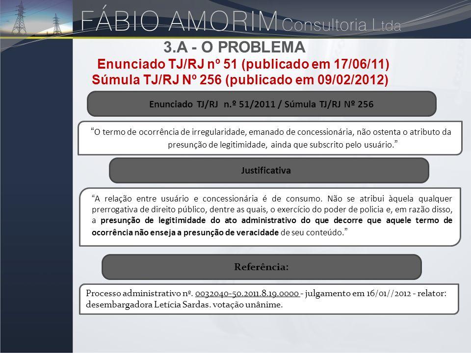 Enunciado TJ/RJ n.º 51/2011 / Súmula TJ/RJ Nº 256 O termo de ocorrência de irregularidade, emanado de concessionária, não ostenta o atributo da presun