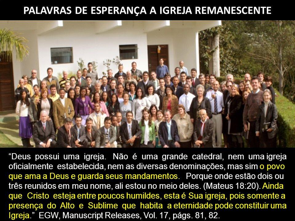 PALAVRAS DE ESPERANÇA A IGREJA REMANESCENTE Deus possui uma igreja.