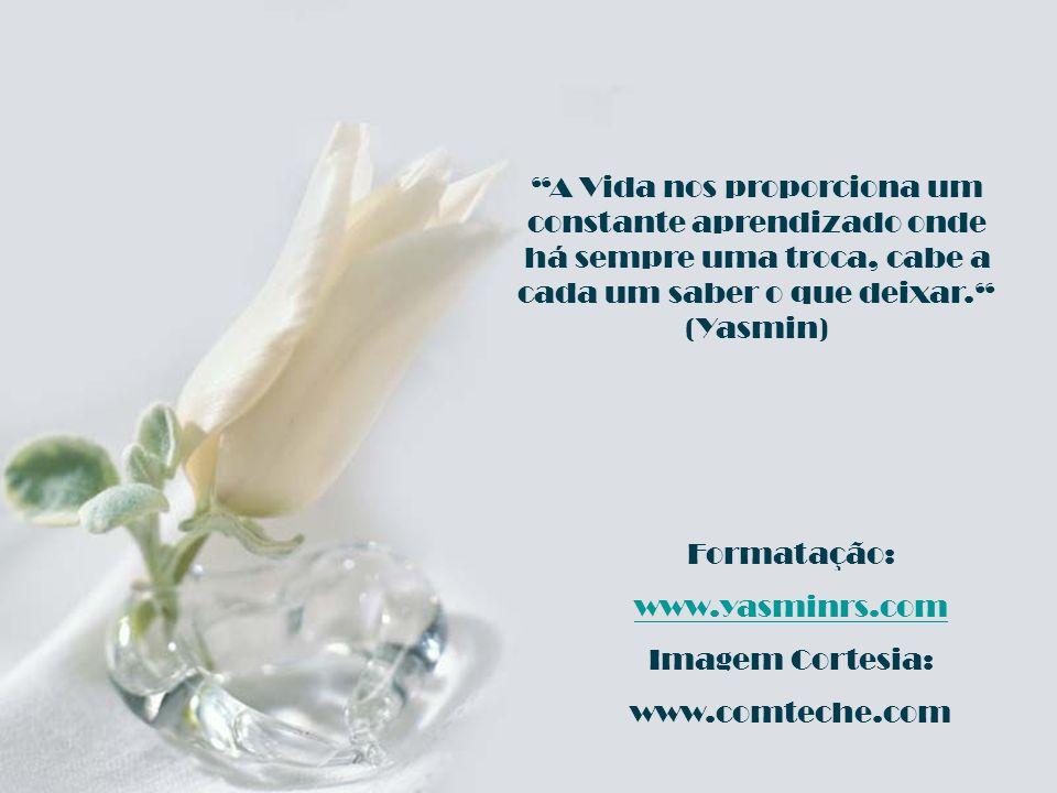 Formatação: www.yasminrs.com Imagem Cortesia: www.comteche.com A Vida nos proporciona um constante aprendizado onde há sempre uma troca, cabe a cada um saber o que deixar.