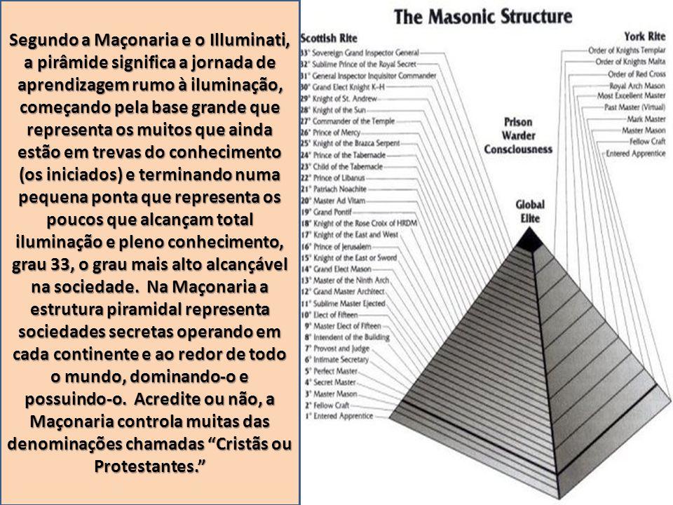 Segundo a Maçonaria e o Illuminati, a pirâmide significa a jornada de aprendizagem rumo à iluminação, começando pela base grande que representa os mui