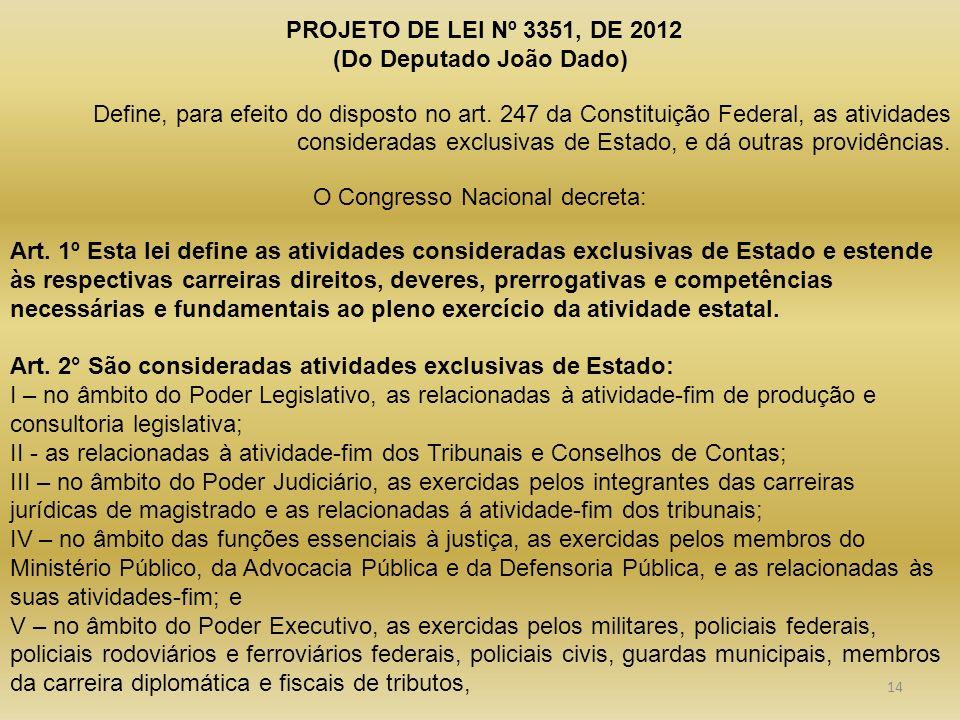 PROJETO DE LEI Nº 3351, DE 2012 (Do Deputado João Dado) Define, para efeito do disposto no art. 247 da Constituição Federal, as atividades considerada