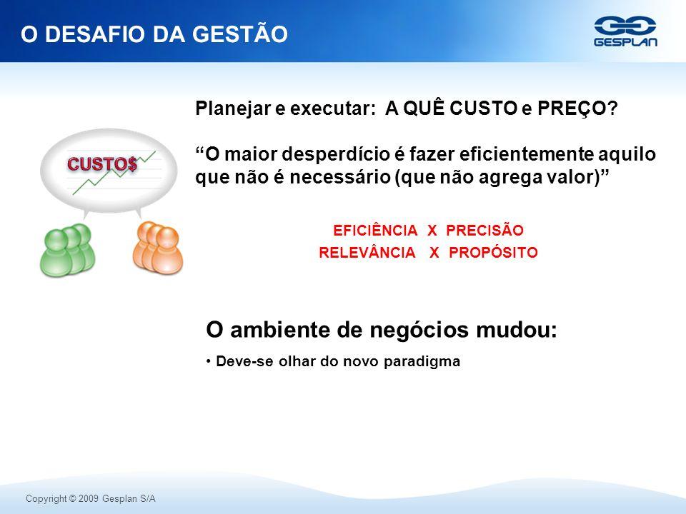 Copyright © 2009 Gesplan S/A O DESAFIO DA GESTÃO O ambiente de negócios mudou: Deve-se olhar do novo paradigma Planejar e executar: A QUÊ CUSTO e PREÇ