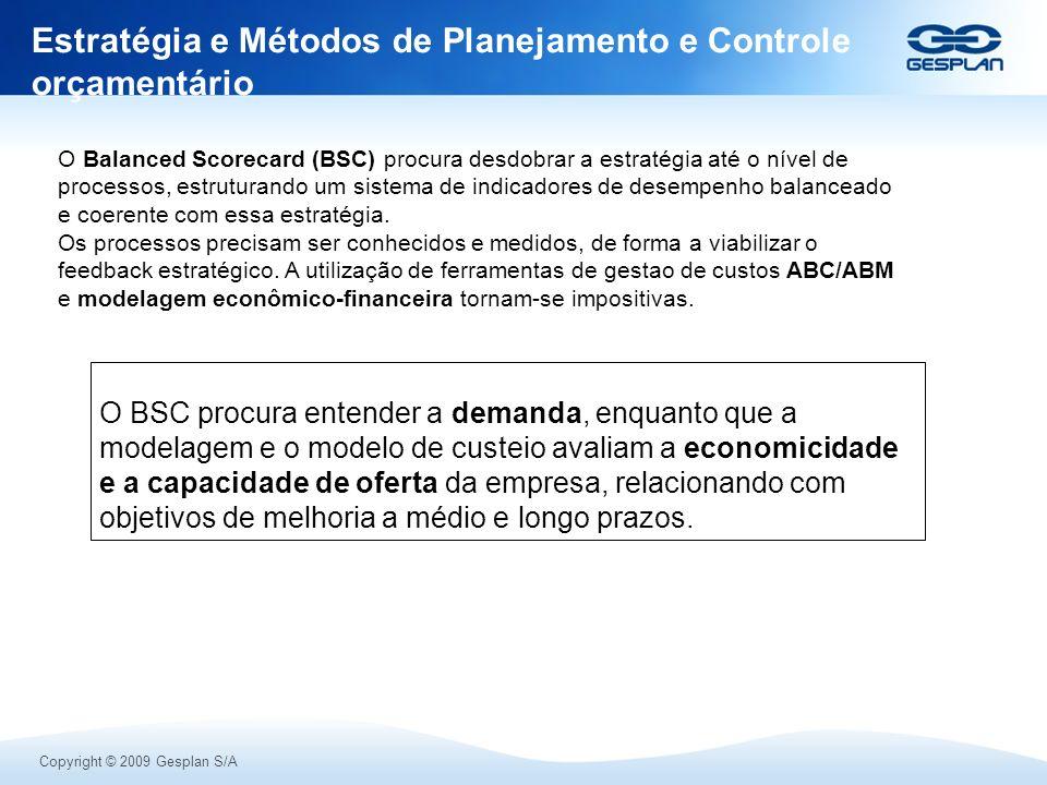 Copyright © 2009 Gesplan S/A Estratégia e Métodos de Planejamento e Controle orçamentário O BSC procura entender a demanda, enquanto que a modelagem e