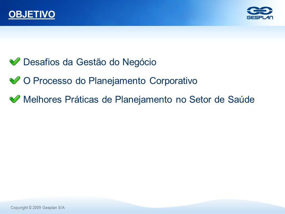 Copyright © 2009 Gesplan S/A OBJETIVO Desafios da Gestão do Negócio O Processo do Planejamento Corporativo Melhores Práticas de Planejamento no Setor
